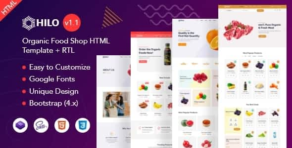 Hilo - Organic Food Shop HTML Template Nulled