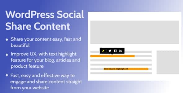 WordPress Social Share Content And Highlight Text