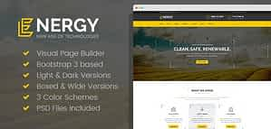 Energon – Renewable Energy and Eco Friendly Technologies HTML template with Builder