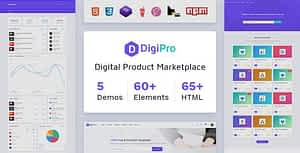 DigiPro – Digital Marketplace HTML Template with Dashboard