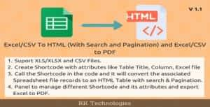 Excel To HTML Table (With Search & Pagination), Excel To PDF