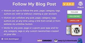 Follow My Blog Post – WordPress / WooCommerce Plugin