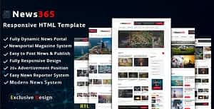 News365 –  Multipurpose Newspaper and Blog HTML Template