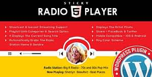 Sticky Radio Player WordPress Plugin – Full Width Shoutcast and Icecast HTML5 Player