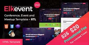 Elkevent – Conference and Meetup HTML Template