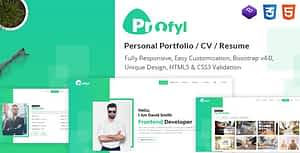 Profyl – Personal Vcard Resume HTML Template
