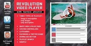 Revolution Video Player With Bottom Playlist – YouTube/Vimeo/Self-Hosted Support