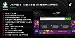 TikTok Video Downloader with no Watermark| PHP Script with Front End| TikLoader