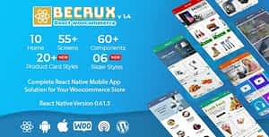 Becrux – React Native Woocommerce Full Mobile App Solution for iOS & Android with App Builder Plugin
