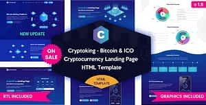 Cryptoking ICO – Bitcoin & ICO Cryptocurrency Landing Page HTML Template