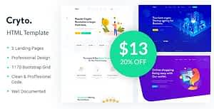 Cryto – Bitcoin & Cryptocurrency Landing Page HTML Template