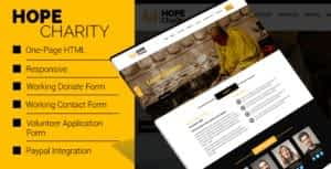 Hope Charity – One-Page Non Profit Website Template HTML