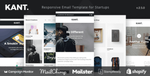 Kant – Responsive Email for Startups: 50+ Sections + MailChimp + Mailster + Shopify Notifications