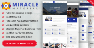 Miracle – Material Design HTML Template