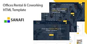 Sanafi – Coworking Space & Office Rental HTML Template