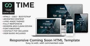 Time – Animated Coming Soon HTML/CSS Website Template