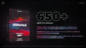 650+ Glitch Elements | After Effects Project