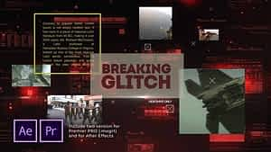 Breaking Glitch Presentation Slideshow After Effects Project