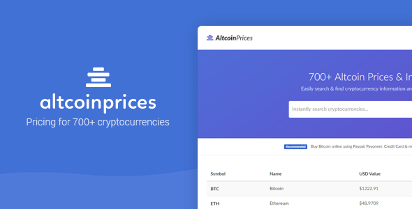 Altcoin Prices - 700+ Cryptocurrency Prices