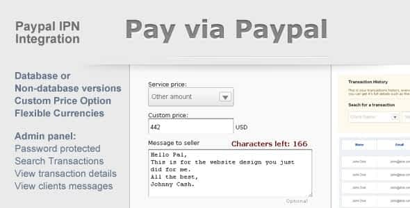 Paypal Payment Form with Admin Panel