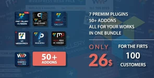 Visual composer addons bundle - gallery, media, posts and utility for VC