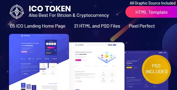 ICO TOKEN - Bitcoin & Cryptocurrency Landing Page HTML Template