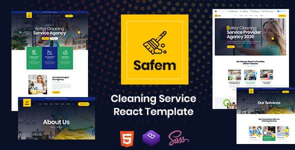 Safem - React Template for Cleaning Service Company
