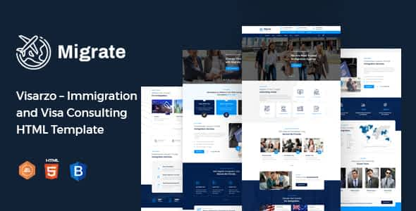 Migrate – Immigration and Visa Consulting HTML Template Nulled