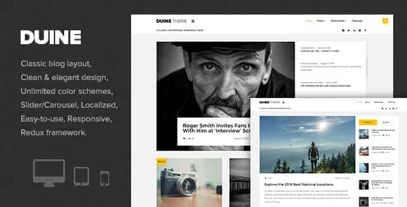 Duine - A Responsive WordPress Blog Theme Nulled
