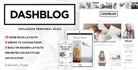 Dash - Simple and Clean Personal WordPress Blog Theme Nulled