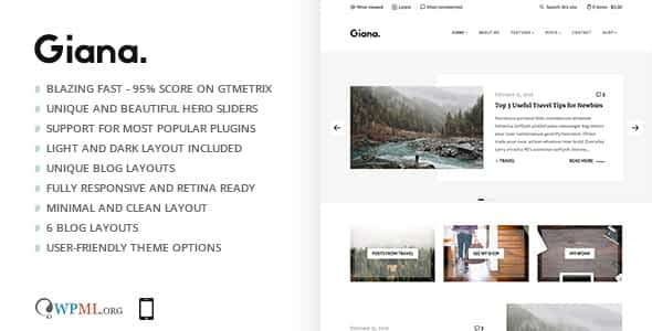 Giana - Minimal and Clean WordPress Blog Theme Nulled