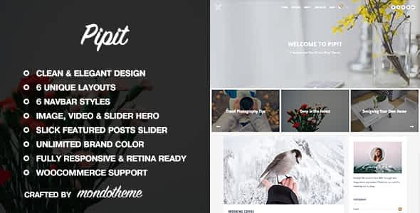 Pipit - A Responsive WordPress Blog Theme Nulled