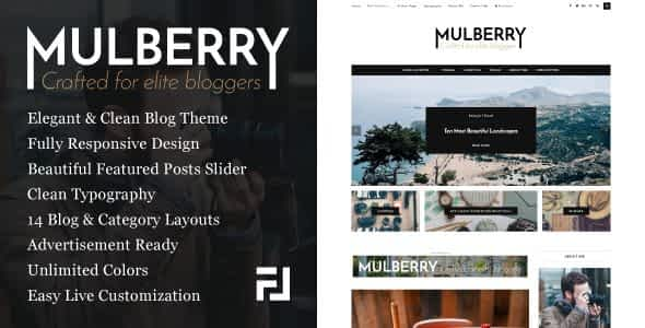 Mulberry - An Elegant Responsive WordPress Blog Theme Nulled