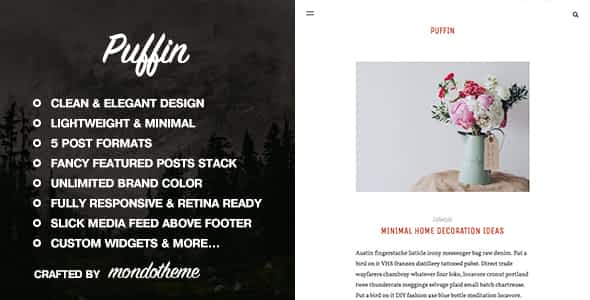 Puffin - A Responsive WordPress Blog Theme Nulled