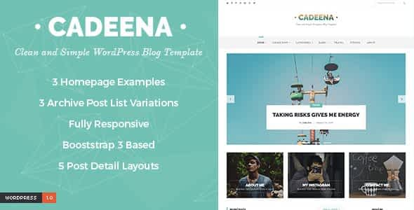 Cadeena - Simple and Clean WordPress Blogging Theme Nulled
