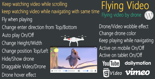 Flying Video for WordPress - keep watching video flying by d...