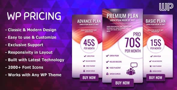 WP Pricing - WordPress Responsive Pricing Tables
