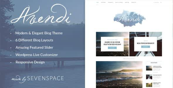 Avendi – Responsive WordPress Blog Theme Nulled