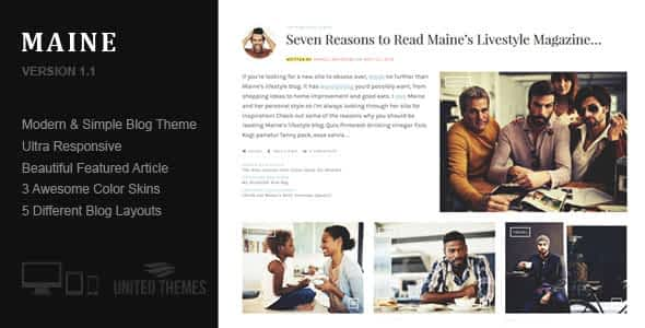 Maine - A Responsive WordPress Blog Theme Nulled
