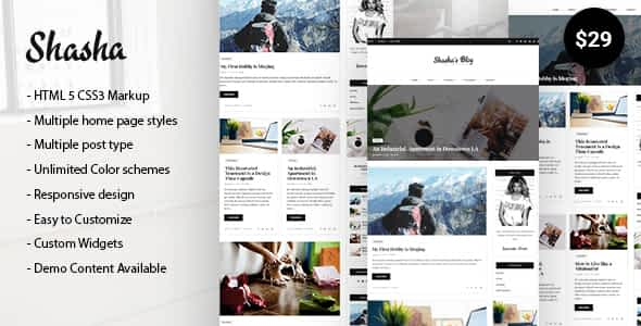 Shasha WordPress Blog Theme Nulled