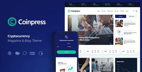 Coinpress   ICO Cryptocurrency Magazine & Blog WordPress The... Nulled