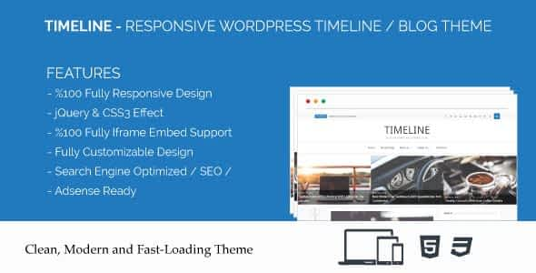 Timeline - Responsive WordPress Timeline / Blog Theme Nulled