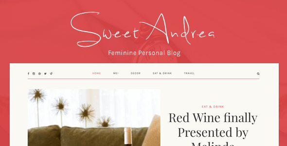 Sweet Andrea - Personal WordPress Blog theme Nulled
