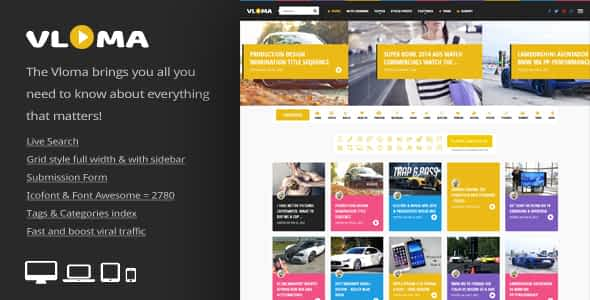 Vloma Grid - A Responsive WordPress Video Blog Theme Nulled