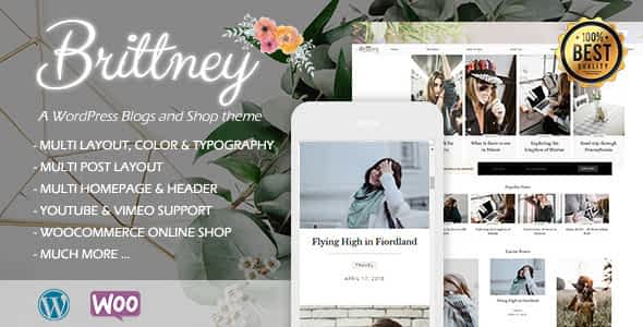 Brittney - A Responsive WordPress Blog and Shop Theme Nulled