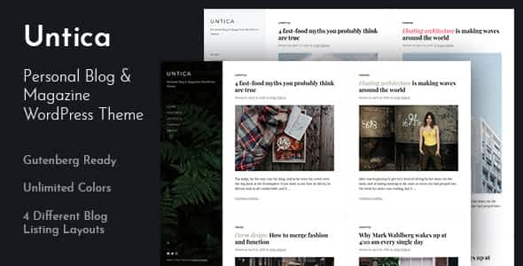 Untica - Personal Blog & Magazine WordPress Theme Nulled