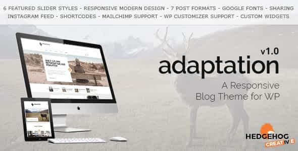 Adaptation - a Responsive Blog Theme for WordPress Nulled