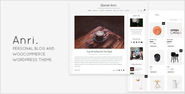 Anri   - Personal Blog and WooCommerce WordPress Theme Nulled