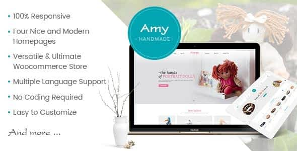 Amy Handmade - Blog and Shop WordPress Theme Nulled