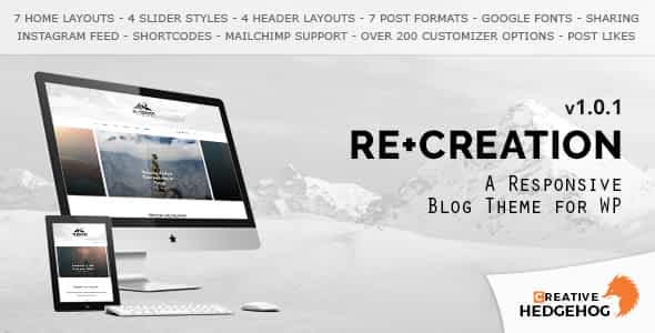 ReCreation - a Responsive Blog Theme for WordPress Nulled